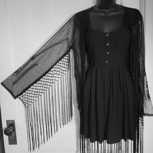 Long sleeved lace and fringe shaw. Lil black dress